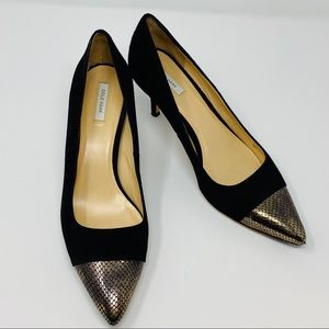 Cole Haan Suede Heels Pumps with Gold Snake Toes
